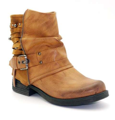 *Women Ankle Beaded Buckle Boots