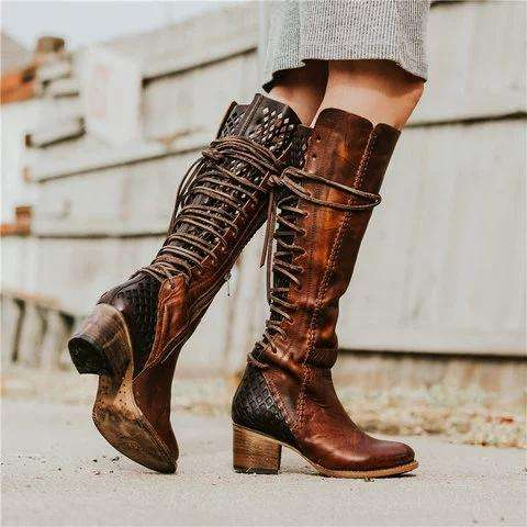 *Vintage Lace-up Hollow-Out Boots Chunky Heel Color Block Boots