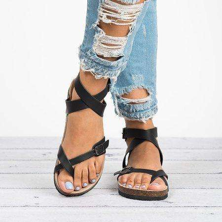 *Ankle Strap Buckle Gladiator Thong Flat Sandals