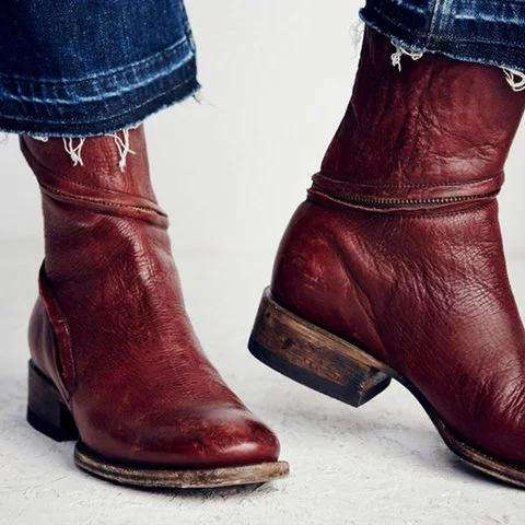 *Women Distressed Ankle Boots Pointed Western Style Faux Leather Boots
