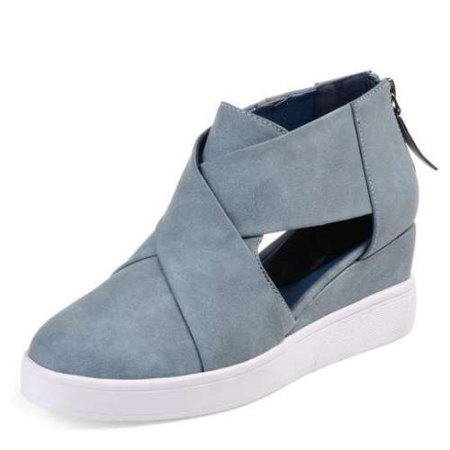 *Criss-cross Cut-out Wedge Sneakers Plus Size Wedge Heel Shoes with Zipper