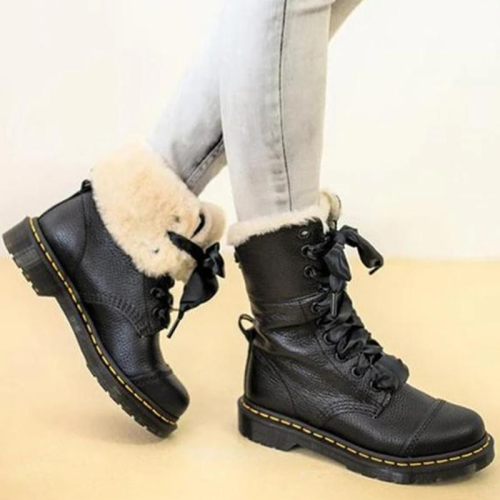 Round Head Lace Up Plush Warm Solid Color Short Womens Boots