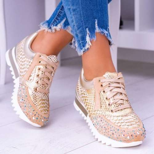 Women Shiny Lace Up Sneakers