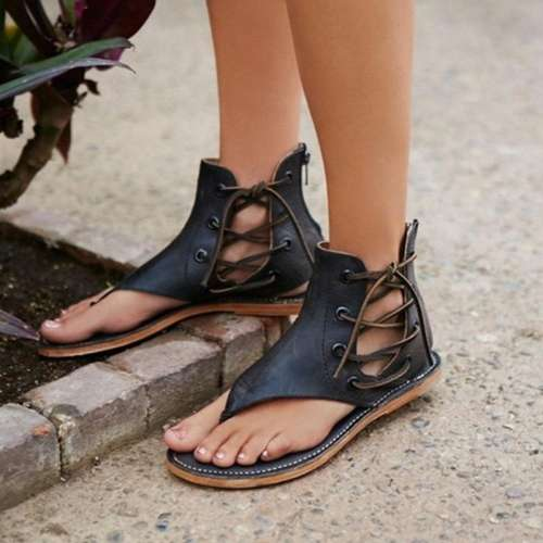 *Shoes New Fashion Women Leisure Lace up Flat Sandals Bohemia Hot Selling High Quality