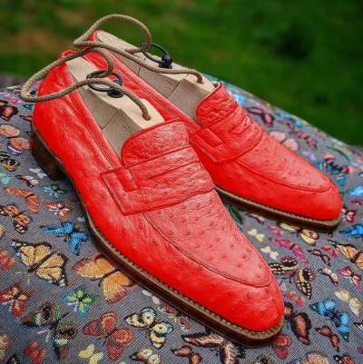 Men Handmade Ostrich Print Dress Shoes