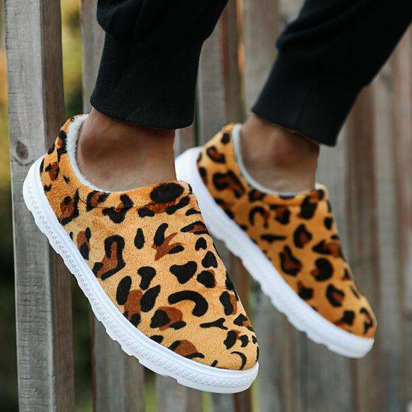 Women's Suede Flat Heel Flats Round Toe With Animal Print Splice Color shoes