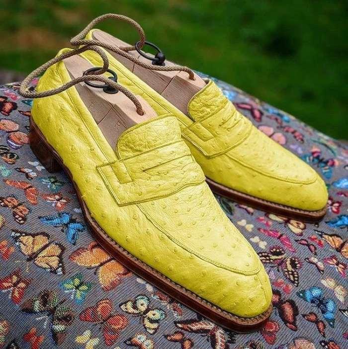 Men Handmade Ostrich Print Dress Shoes