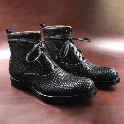 Men Handmade Leather Woven Bordered Boots