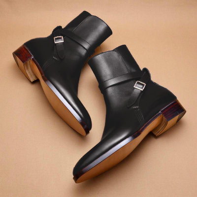 Men'S Handmade Leather Buckle Boots