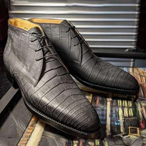 Gray Alligator Chukka Boots
