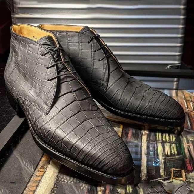 Gray Alligator Chukka Boots