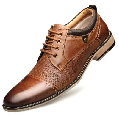 Business Casual Lace Up British Leather Shoes
