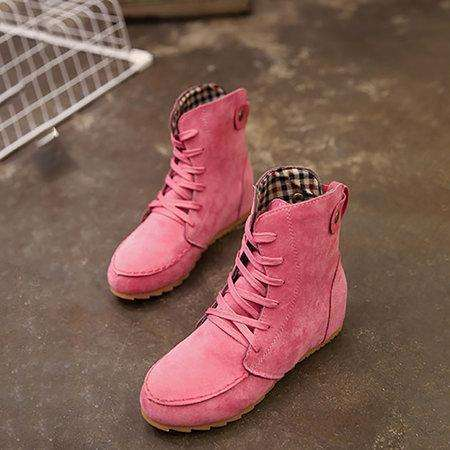 *Round Toe Women Ankle Lace-Up Boots