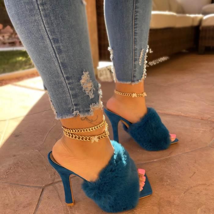 Open-Toe Strap Ragine Heel Sandals