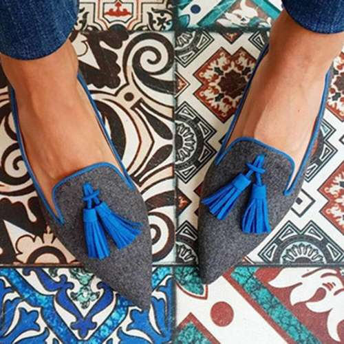 Women's Pointed Toe Tassel Ballet Flats In Suede