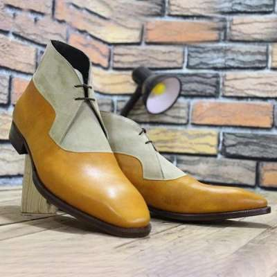 Flat PU Leather Men'S Boots