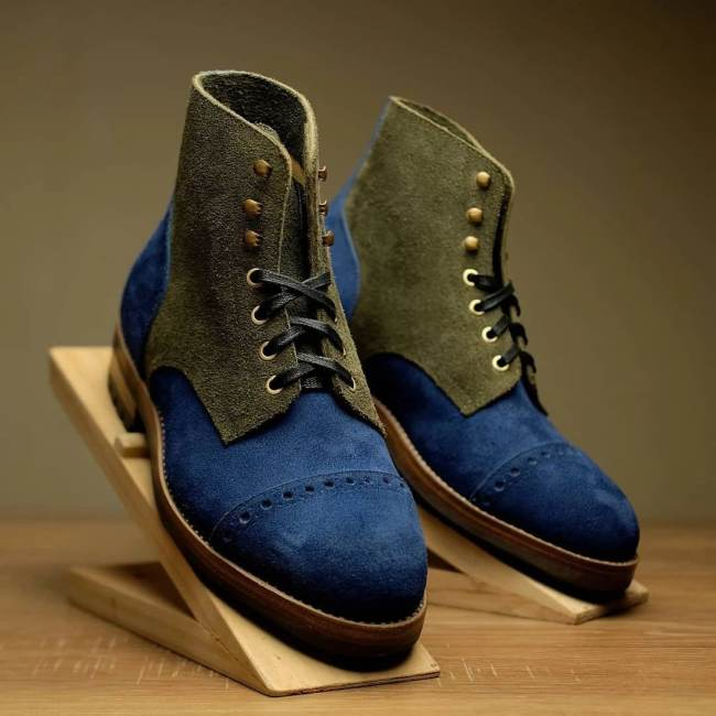 Royal Blue With Sage Green Rough-Out Boots