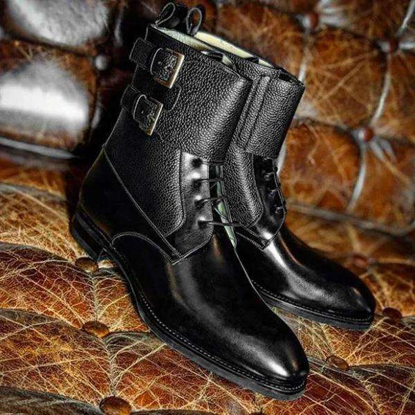 Handmade Black Lace Up Buckle Ankle High Boots
