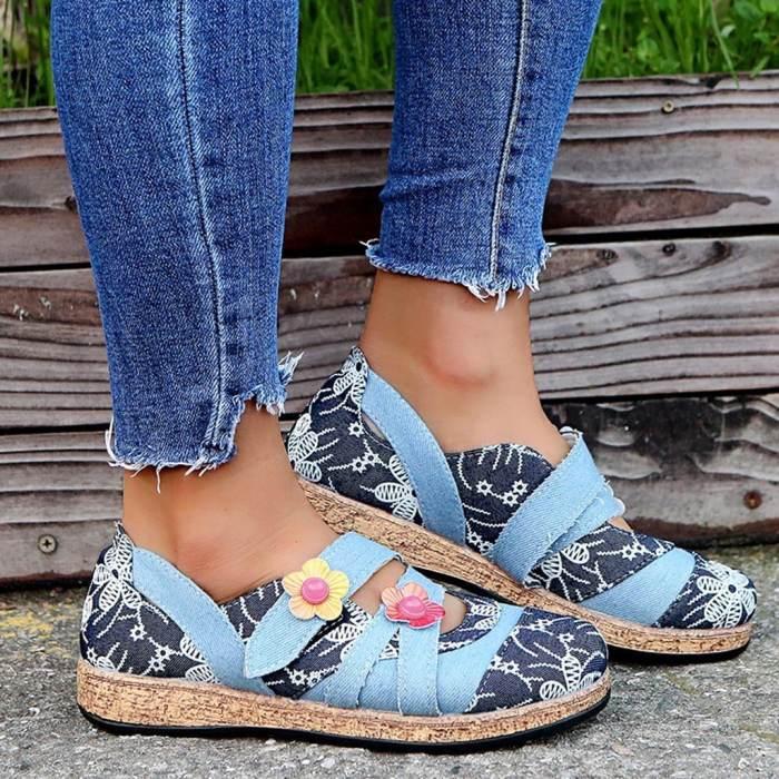 Women's Flower Round Toe Low Heel Flats