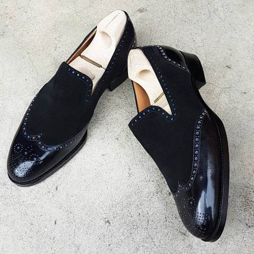 Men's Leather & Suede Wingtip Dress Fashion Shoes