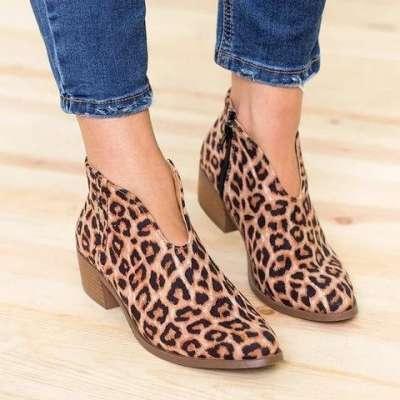 Women Deep V Sexy Booties Casual Comfort Zipper Shoes