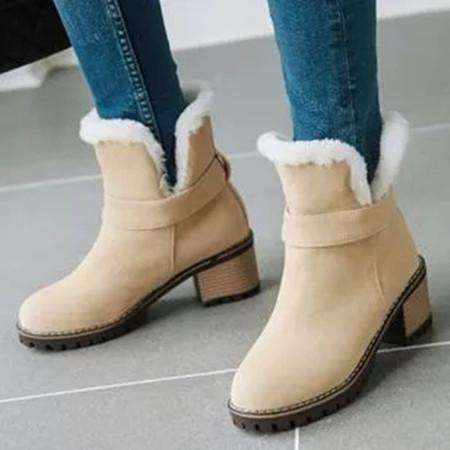 Women's Fur Ankle Boots Round Toe Heels Boots