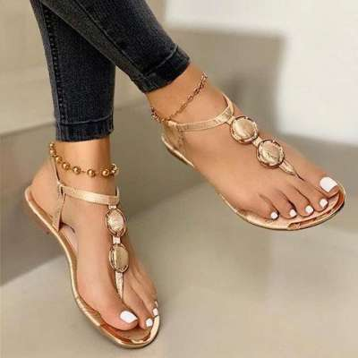 Leather Flat Heel Daily Sandals