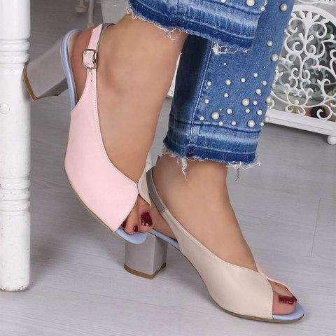 Adjustable Buckle Chunky Heel Peep Toe Heels