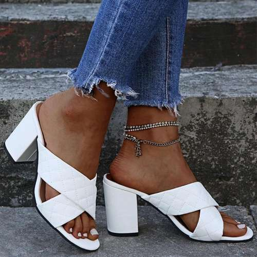 Women Elegant Simple Pu Cross-strap Chunky Heel Slippers