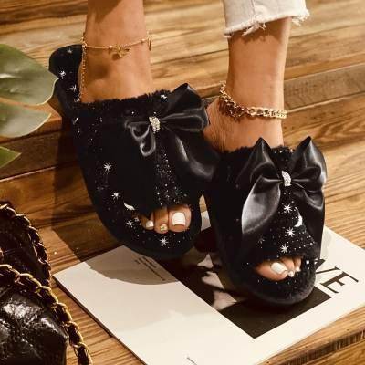 Women's Bowknot Slingbacks Cotton Flat Heel Slippers