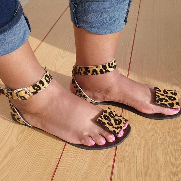Women Summer Faxu Suede Leopard Sandals