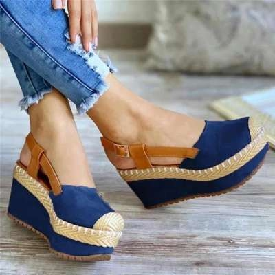 Women Buckle Slingback Wedges Heel Platform Espadrilles Sandals