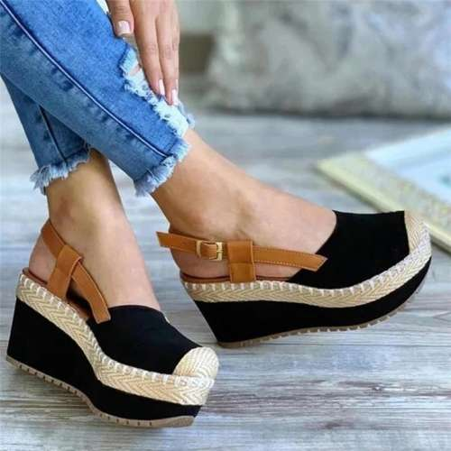 Women Buckle Slingback Wedges Heel Platform Espadrilles Sandals