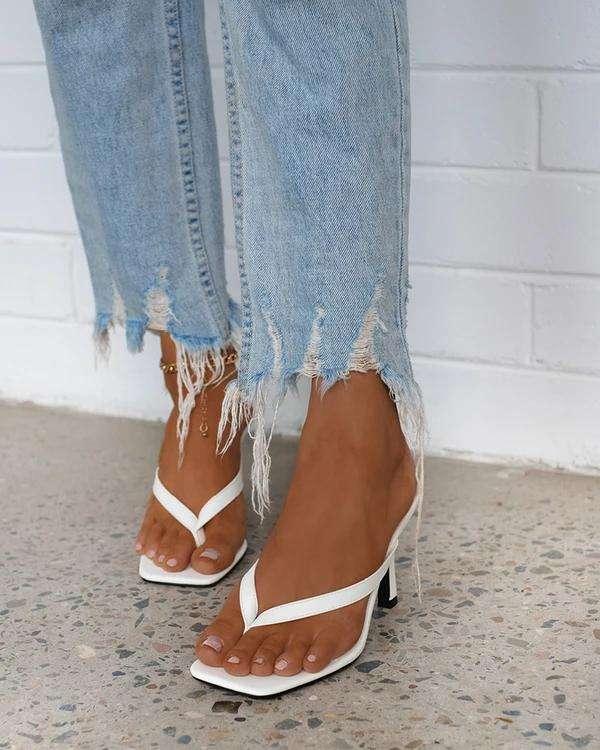 Women Roman Casual Rhinestone Slip On Heel Sandals
