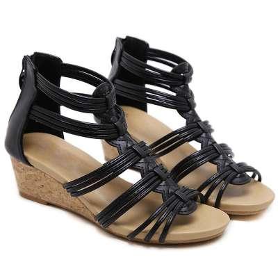 Women Elegant Simple Pu Cross-strap Zipper Wedge Heel Sandals