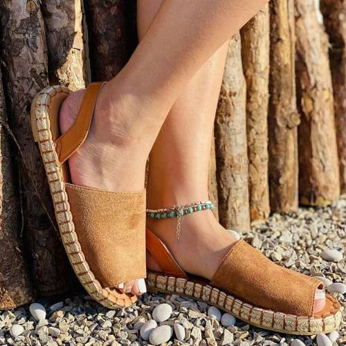 Ladies Casual Suede Flat Sandals