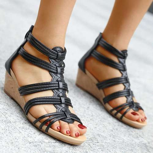 Women Elegant Simple Pu Cross-strap Zipper Wedge Heel Sandals