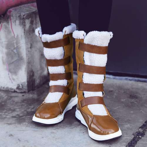 Platform Patchwork Color Block Snow Boots