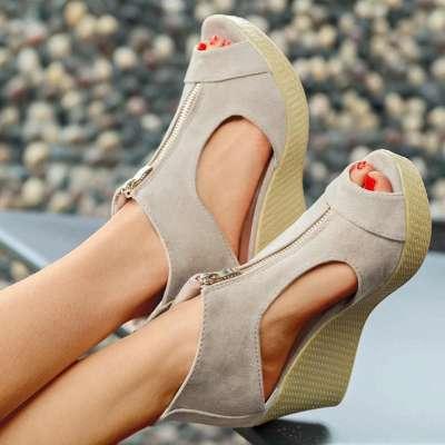 Ladies' Elegant Simple Sandals With Wedge Heel Made Of Imitation Suede