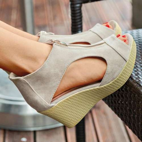 Ladies' Elegant Simple Sandals With Wedge Heel Made Of Imitation Suede