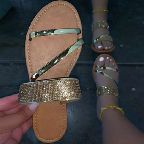 Women Simple Fashion Pu Rhinestone Slip On Sandals Slippers
