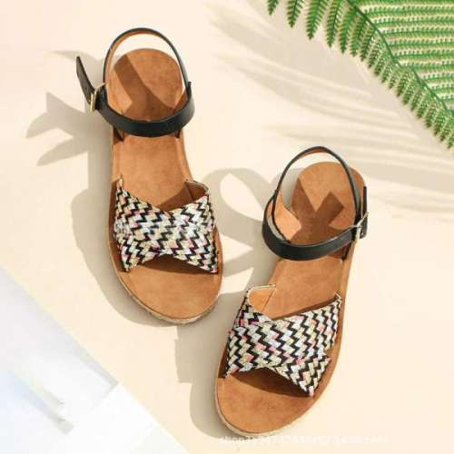 Womens Twine Woven Lace-Up Sandals