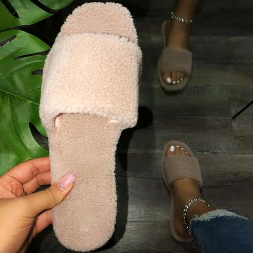 Square Toe Flat Slides Plush Solid Color Slippers