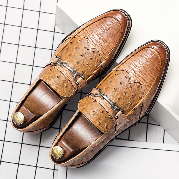 Mens Loafer Shoes Coffee Brown Slip-On Metal PU Leather Shoes