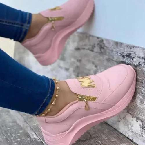 Women's Fashion Letter Decoration Comfortable Zipper Design Sneakers