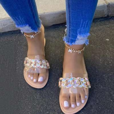 Women Casual Simple Slip On Clear Flat Slippers