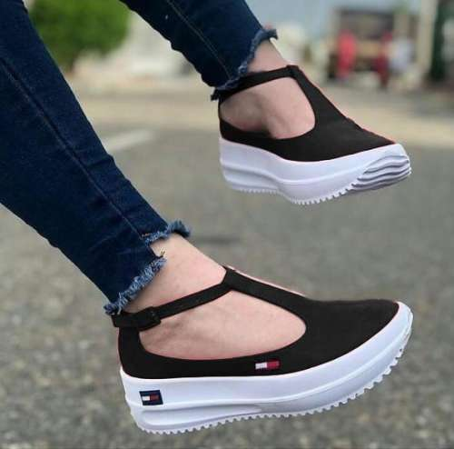 Women's Fashion Canvas Comfortable T-Shaped Design Platform Casual Shoes