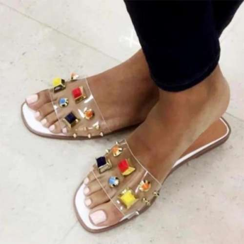 Women's PU Studded Transparent Slides Slippers