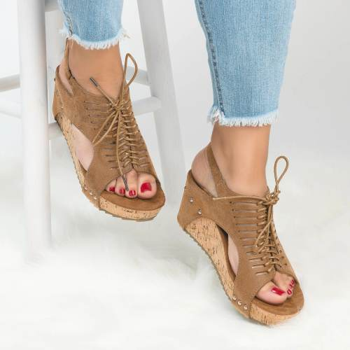 Women's PU Lace Up Wedges Sandals
