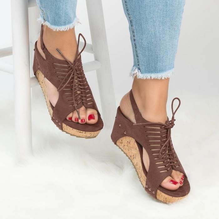 Women's PU Lace Up Wedges Sandals